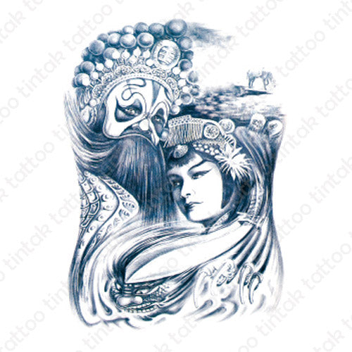 Geisha & King temporary tattoo design.