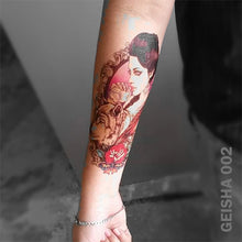 Load image into Gallery viewer, Geisha temporary tattoo on a women's arm.