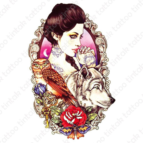 Geisha temporary tattoo design with an owl, a wolf, and a rose.
