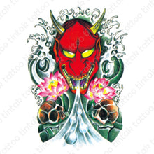 Load image into Gallery viewer, Oni/Hannya Temporary Tattoo sticker design.