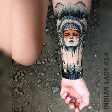 Load image into Gallery viewer, Woman's arm with indian lady temporary tattoo.
