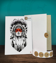 Load image into Gallery viewer, Tintak temporary tattoo sticker with indian lady design, with its hard board packaging.