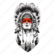 Load image into Gallery viewer, Indian lady tintak temporary tattoo design with indian hat and a red eye mask.