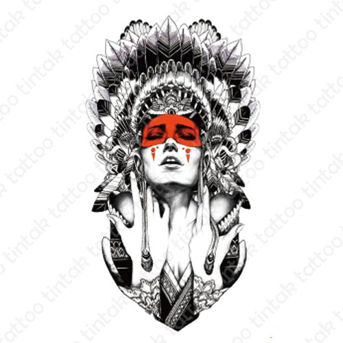 Indian lady tintak temporary tattoo design with indian hat and a red eye mask.