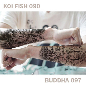A man's left and right arm, each have temporary tattoos with a Koi Fish on his right and a Buddha on his left.