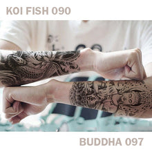 Load image into Gallery viewer, Koi Fish and Buddha temporary tattoo sticker applied on each arm of a man.