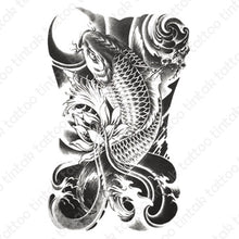 Load image into Gallery viewer, Black and gray koi fish temporary tattoo sticker design