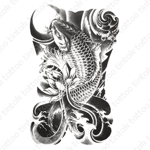 Black and gray koi fish temporary tattoo sticker design