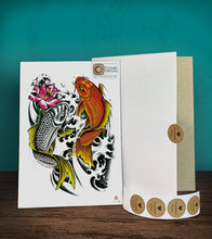 Load image into Gallery viewer, Tintak temporary tattoo sticker with koi fish design, with its hard board packaging.