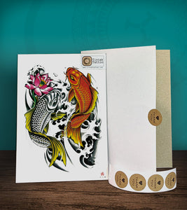 Tintak temporary tattoo sticker with koi fish design, with its hard board packaging.
