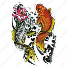 Load image into Gallery viewer, Two Colored Koi Fish temporary tattoo sticker design.