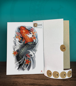 Tintak temporary tattoo sticker with colored koi fish design, with its hard board packaging.