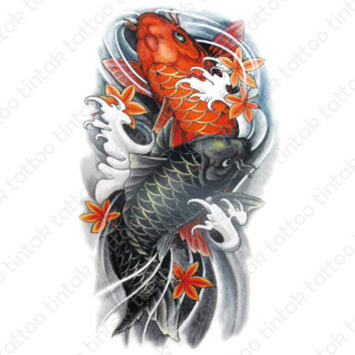 Colored Koi Fish temporary tattoo sticker design.