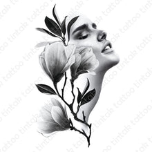 Load image into Gallery viewer, Temporary tattoo sticker design with black and gray flowers and a lady's face.
