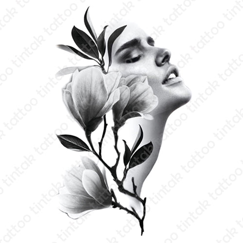 Temporary tattoo sticker design with black and gray flowers and a lady's face.