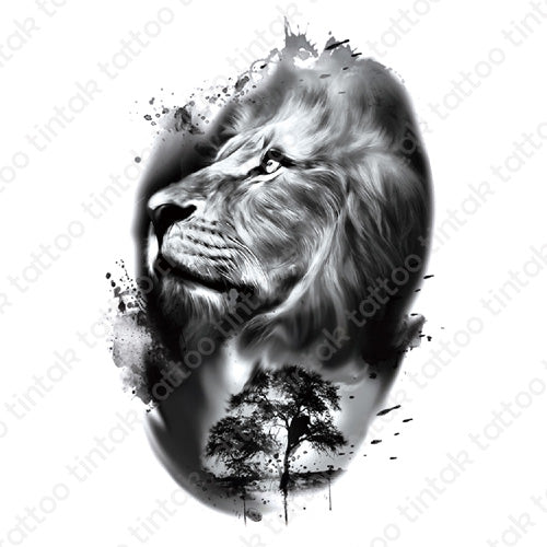 Black and gray temporary tattoo design with a side face of a lion.