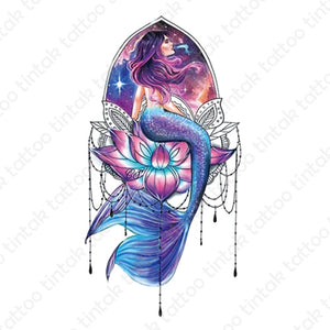 Colored temporary tattoo design with a mermaid sitting on a lotus flower.