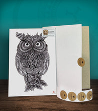 Load image into Gallery viewer, Tintak temporary tattoo sticker with owl design, with its hard board packaging.