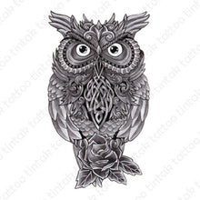 Load image into Gallery viewer, black and gray owl temporary tattoo design with rose flower below it.