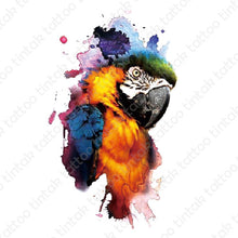 Load image into Gallery viewer, Water-colored parrot bird temporary tattoo sticker design.