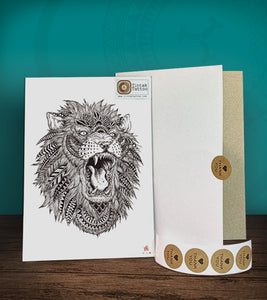 Polynesian lion temporary tattoo sticker design with packaging.