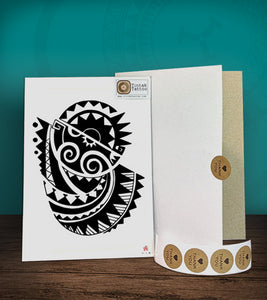 Tintak temporary tattoo sticker with polyneian/tribal design, with its hard board packaging.