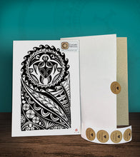 Load image into Gallery viewer, Tintak temporary tattoo sticker with polyneian design, with its hard board packaging.