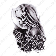Load image into Gallery viewer, Tintak temporary tattoo design with black and gray praying skeleton nun and roses.