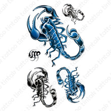 Load image into Gallery viewer, Set of scorpion temporary tattoo stickers in black and blue design.