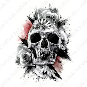 Black and gray skull temporary tattoo design with rose and some pink accent background.