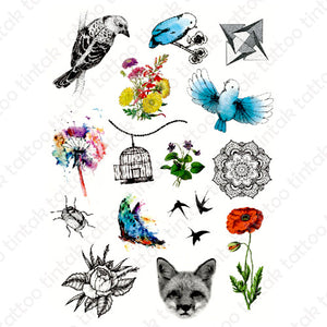 Set of various small temporary tattoo designs with flowers, and birds.