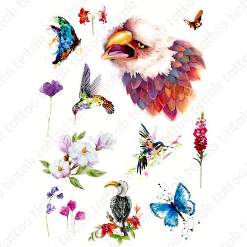 Set of various small temporary tattoo designs with butterflies, flowers, and birds.
