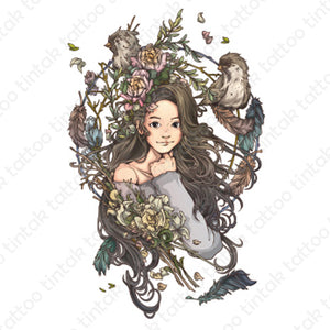 Temporary tattoo sticker design with animated girl inside the circled flowers with birds and feathers.