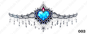 Sternum temporary tattoo sticker design 003 with blue heart stone in the middle.