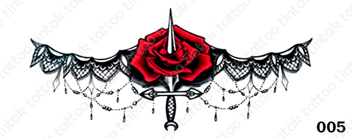 Sternum temporary tattoo sticker design 005 with red rose and a dagger in the middle.