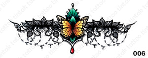 Sternum temporary tattoo sticker design 006 with yellow butterfly and green leaf on the middle.