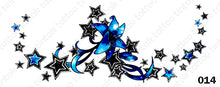 Load image into Gallery viewer, Sternum temporary tattoo sticker design 014 with black and blue stars and flowers.