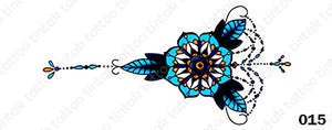 Vertical sternum temporary tattoo sticker design 015 with blue flower and leaves.