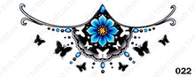 Load image into Gallery viewer, Sternum temporary tattoo sticker design 022 with blue flower and black butterflies.