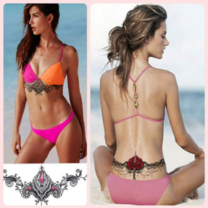 Collage photos of two women wearing a temporary tattoo, one on her sternum part, and the other is on the lower back.