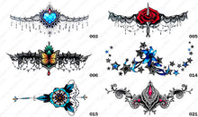 Load image into Gallery viewer, Six different styles or designs of tintak sternum temporary tattoos.