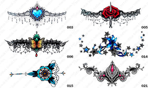 Six different styles or designs of tintak sternum temporary tattoos.