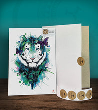 Load image into Gallery viewer, Tintak temporary tattoo sticker with watercolored tiger design, with its hard board packaging.
