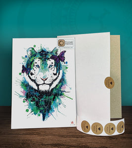 Tintak temporary tattoo sticker with watercolored tiger design, with its hard board packaging.