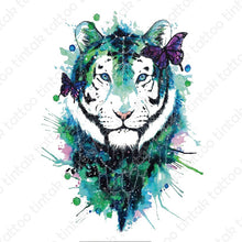 Load image into Gallery viewer, Water-colored tiger temporary tattoo design with with black and green color combination.