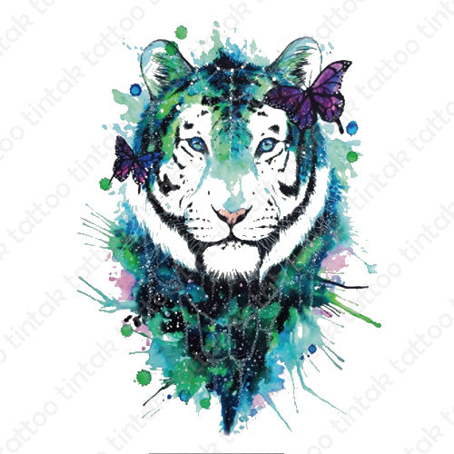 Water-colored tiger temporary tattoo design with with black and green color combination.