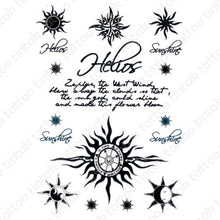 Load image into Gallery viewer, Tribal sun, compass, and written words temporary tattoo sticker design.