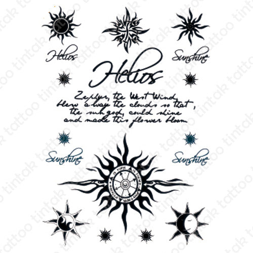 Tribal sun, compass, and written words temporary tattoo sticker design.