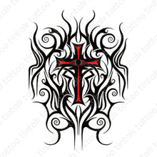 Load image into Gallery viewer, Tribal Cross temporary tattoo sticker design.
