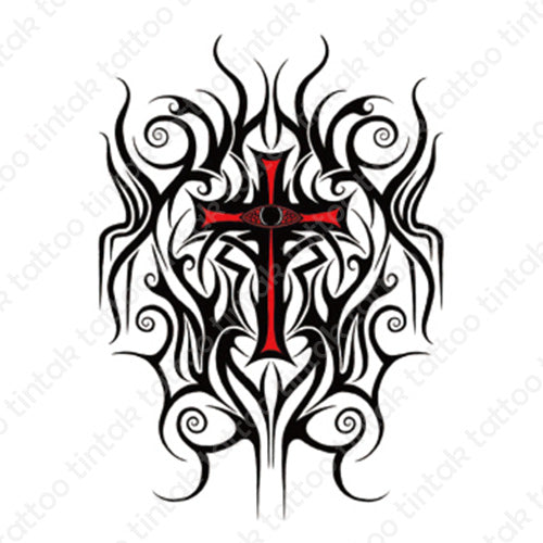 Tribal Cross temporary tattoo sticker design.